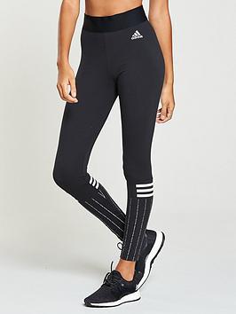 Adidas 3 Stripes Print Tights - Black