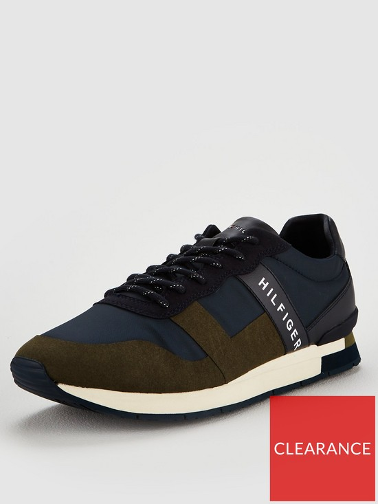8b4a22b8af85a5 Tommy Hilfiger Mixed Material Trainers - Olive