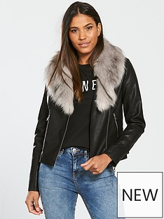 v-by-very-pu-biker-with-faux-fur-collar-blacknbsp