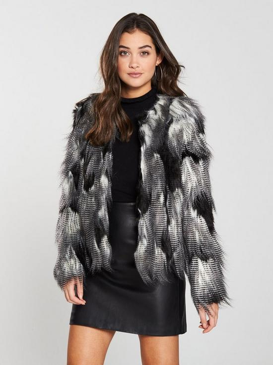 dc9acc4bd Collarless Faux Fur Jacket - Black/White