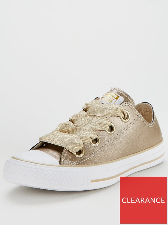 36aa5d36dc9df7 Converse Chuck Taylor All Star Leather Big Eyelets Ox - Gold White ...