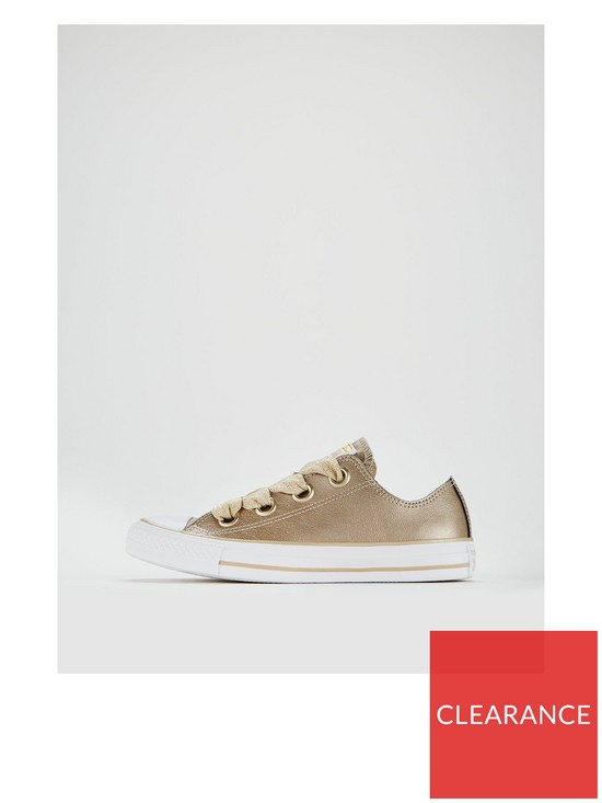 ec4afc8d1f4f02 ... Converse Chuck Taylor All Star Leather Big Eyelets Ox - Gold White.  View larger