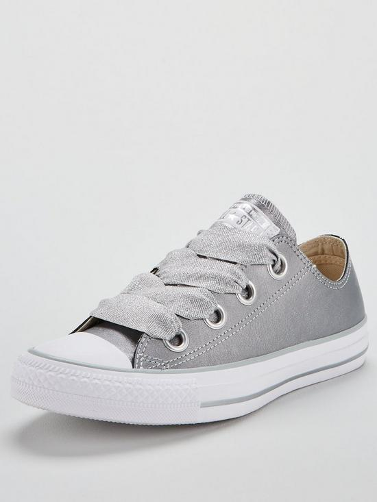 751262403d46 Converse Chuck Taylor All Star Leather Big Eyelets Ox - Metallic Silver