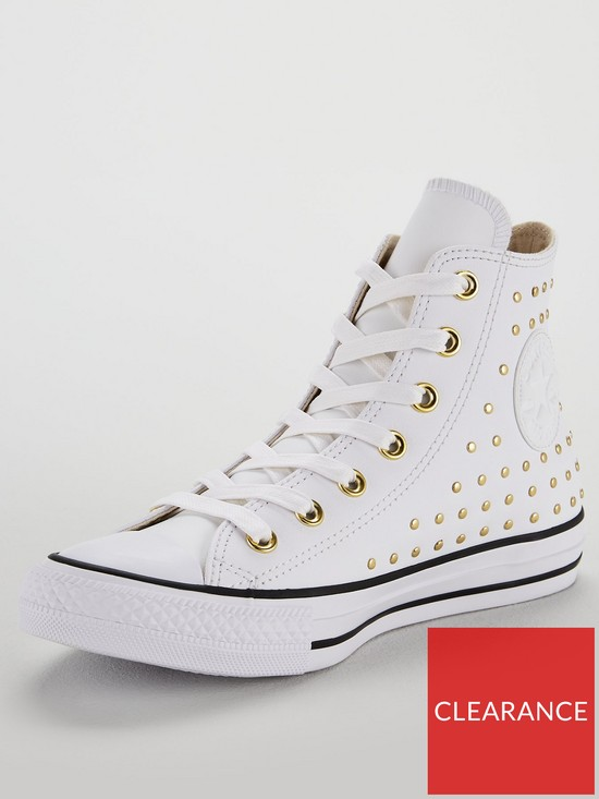2914387f3dd1 Converse Chuck Taylor All Star Leather Stud Hi-Top - White