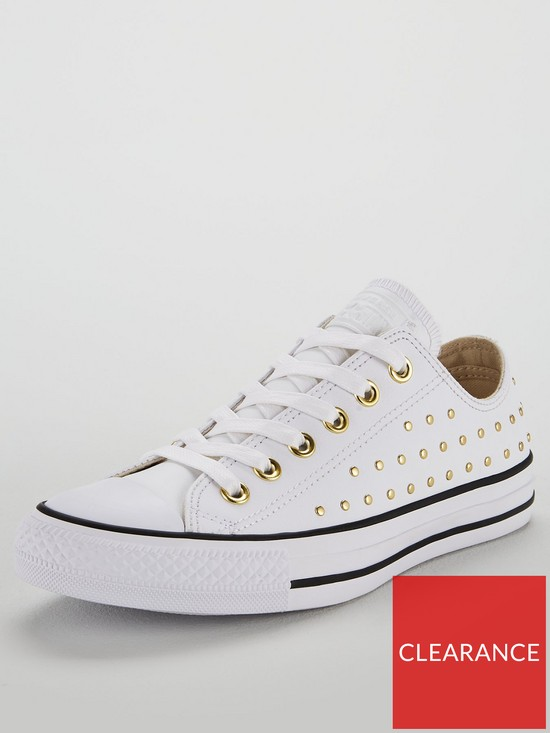 825493e2103f95 Converse Chuck Taylor All Star Leather Stud Ox - White