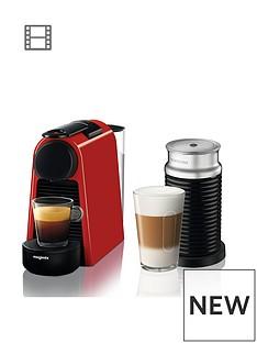 Nespresso Essenza Mini Coffee Machine and Aeroccino by Magimix - Ruby Red