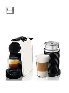 Nespresso Essenza Mini Coffee Machine with Aeroccino by Magimix - Pure White
