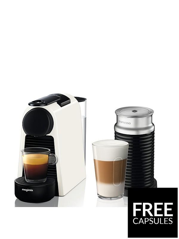 Essenza Mini Coffee Machine With Aeroccino By Magimix Pure White