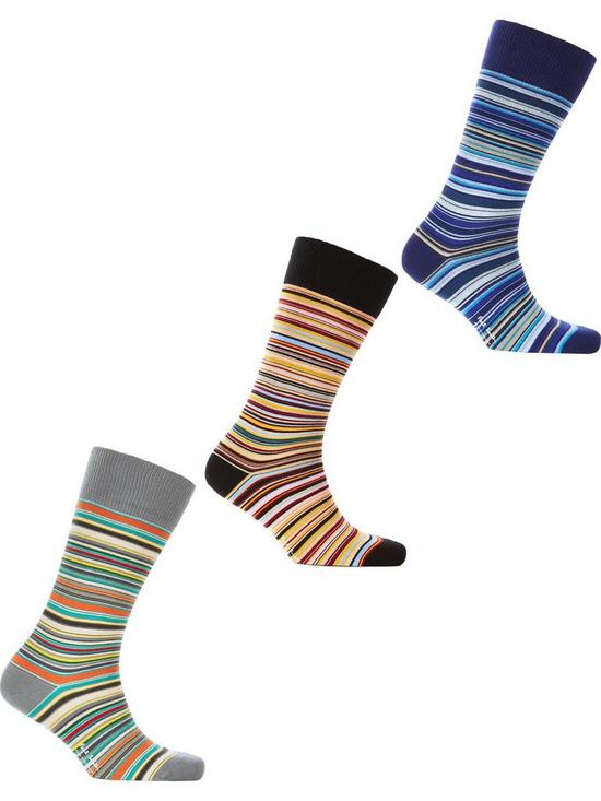 4facc760d8080 PS PAUL SMITH Men s 3 Pack Classic Striped Socks - Multi