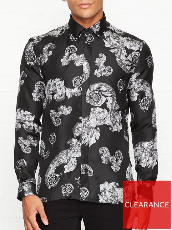 43a3df7c42e4 VERSACE COLLECTION Silk Baroque Wreath Print Shirt - Black | very.co.uk