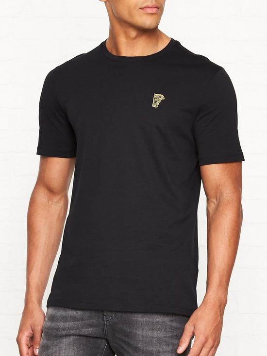 8338d1d6 VERSACE COLLECTION Medusa Head Gold Logo T-shirt - Black | very.co.uk