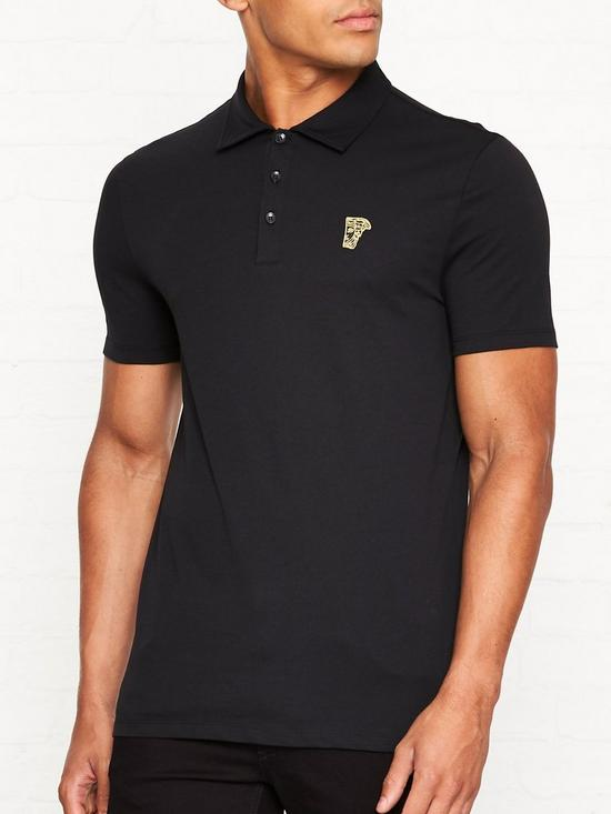 c719149d VERSACE COLLECTION Medusa Head Gold Logo Polo Shirt - Black | very.co.uk
