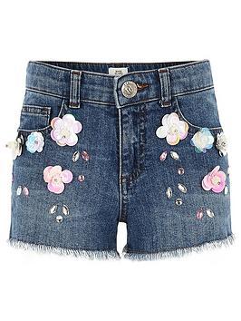 river-island-girls-flower-embellished-denim-shorts