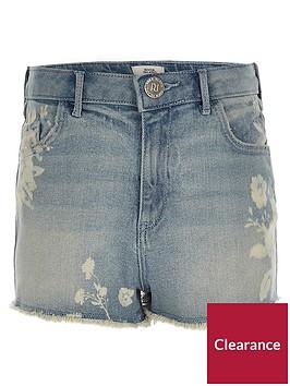 river-island-girls-floral-high-waisted-annie-denim-shorts