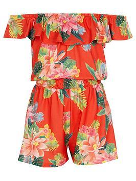 river-island-girls-orange-floral-frill-bardot-playsuit