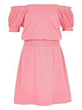 river-island-girls-pink-shirred-bardot-dress