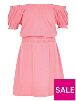 river-island-girls-pink-shirred-bardot-dress