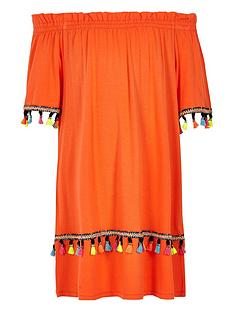 river-island-girls-orange-tassel-trim-bardot-dress