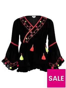 river-island-girls-black-frill-hem-pom-pom-detail-tunic