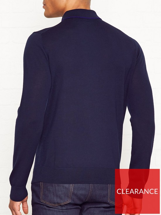 1a6037492 PS PAUL SMITH Trim Detail Knitted Merino Wool Polo Shirt - Navy ...