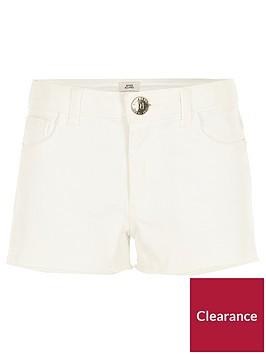 river-island-girls-white-frayed-denim-shorts