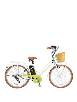 Image of Elswick Electric - Ladies Steel Heritage Bike with Basket, Rear Rack and Lights, White/Lime, Women