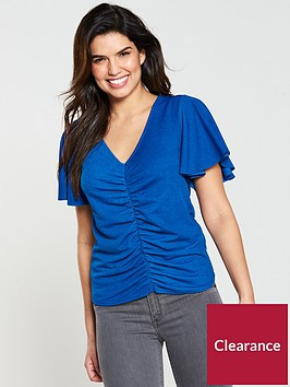 v-by-very-ruched-angel-sleeve-top-electric-bluenbsp