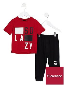 river-island-mini-boys-red-lsquoso-lazyrsquo-pyjama-set