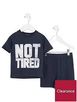 river-island-mini-boys-navy-lsquonot-tiredrsquo-print-pyjama-set