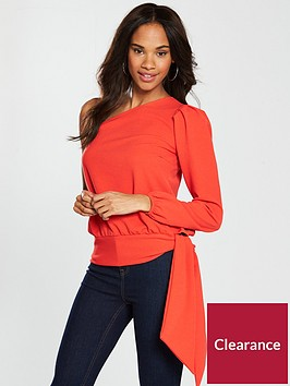 v-by-very-one-shoulder-crepe-tie-top-orange