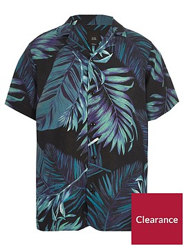 river-island-boys-navy-leaf-print-short-sleeve-shirt