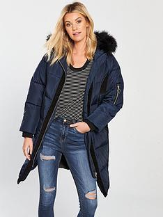 v-by-very-premium-cord-trim-padded-coat-navy