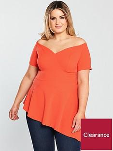 v-by-very-curve-bardot-asymmetric-top-orange