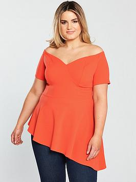 V By Very Curve Bardot Asymmetric Top - Orange