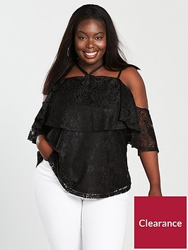 v-by-very-curve-double-layer-lace-top-black