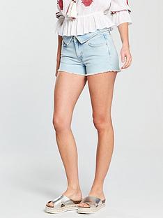 v-by-very-bleach-fold-over-waistband-short-light-wash