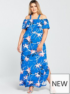 v-by-very-curve-printed-ruffle-cold-shoulder-jersey-maxi-dress