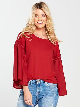 v-by-very-volume-sleeve-mix-t-shirt-red