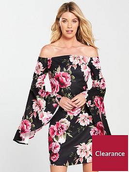 v-by-very-bardot-bell-sleeve-dress-floral-print