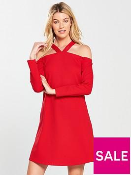 v-by-very-halter-neck-swing-dress-bright-red