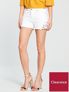 v-by-very-crochet-denim-short-white