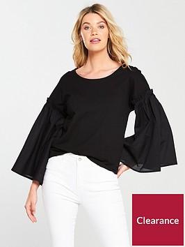 v-by-very-volume-sleeve-mix-t-shirt-black