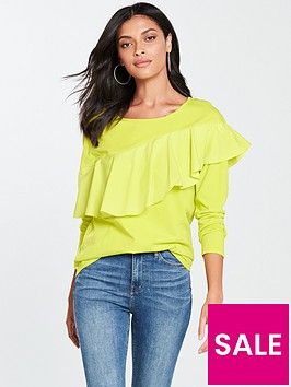 v-by-very-frill-front-long-sleeve-top-lime