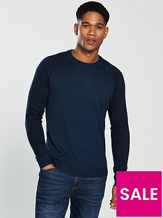 fa542260049bc6 Ted Baker Long Sleeved Space Dyed Sleeve Crew Neck Top - Navy