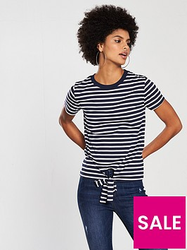 v-by-very-tie-front-stripe-top-navywhite