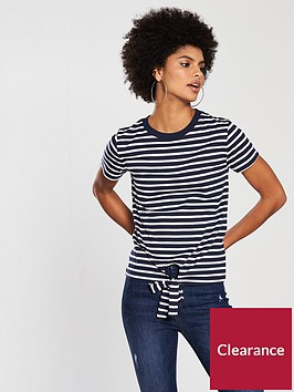 v-by-very-tie-front-stripe-top-navywhite