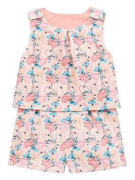 mini-v-by-very-girls-textured-flamingo-playsuit