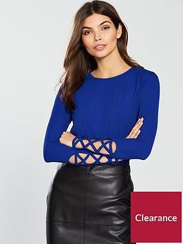 v-by-very-rib-lattice-sleeve-top-bluenbsp