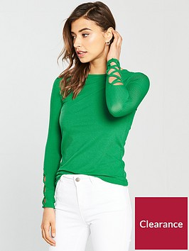 v-by-very-rib-lattice-sleeve-top-green
