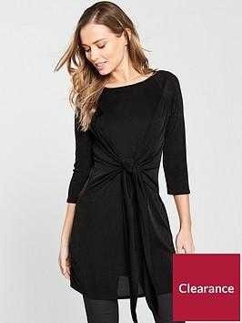 v-by-very-tie-front-slinky-tunic-black